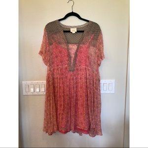 Anthropologie Pink Floral Dress